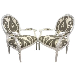 Pair of 19th Century Painted White Louis XVI Style Fauteuils in Ikat Fabric