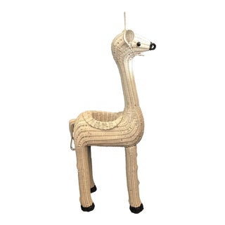 White Wicker Giraffe Planter