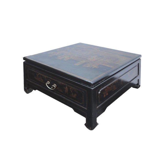 Black gold square chinese leather coffee table chairish Square leather coffee table