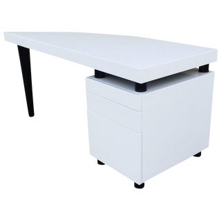 Architectural Italian Desk In Black And White Lacquer