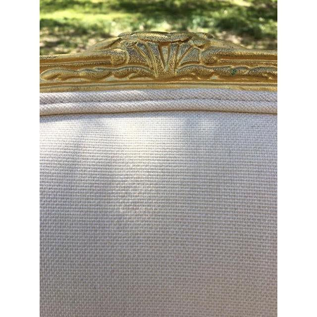 Vintage Ivory Linen Upholstered Armchairs - A Pair - Image 7 of 7