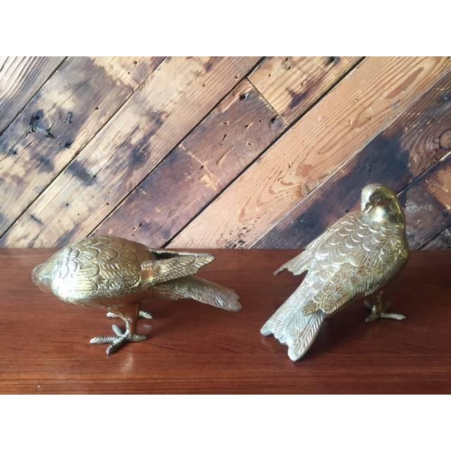 Image of Vintage Heavy Brass Decorative Birds - Pair
