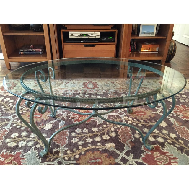 Wrought Iron Coffee Table With Glass Top Chairish
