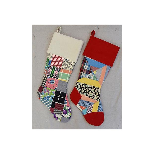 "Large Custom 22"" Tailored Patchwork Quilt Christmas Stockings - Pair - Image 2 of 7"