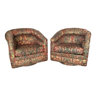 Milo Baughman Inspired Swivel Club Chairs - A Pair