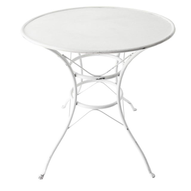 Image of Antique French White Bistro Dining Table
