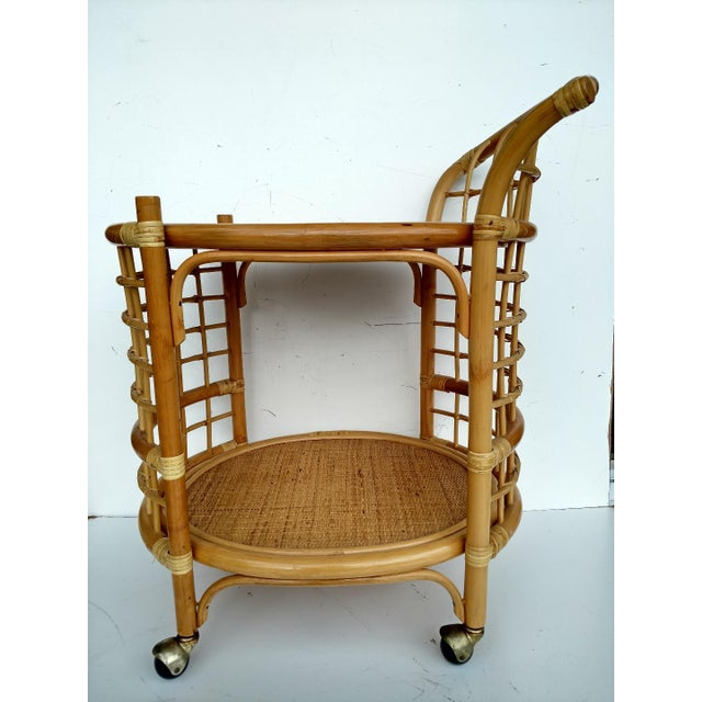 1970's Rattan 2-Tier Bar Cart with Swivel Casters - Image 4 of 8