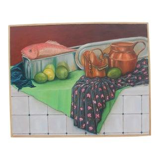 Vintage Rfeuer Still Life Oil Painting