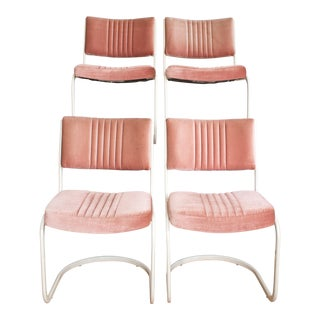 Pink Cantilever Dining Chairs Modern Memphis Style - Set of 4
