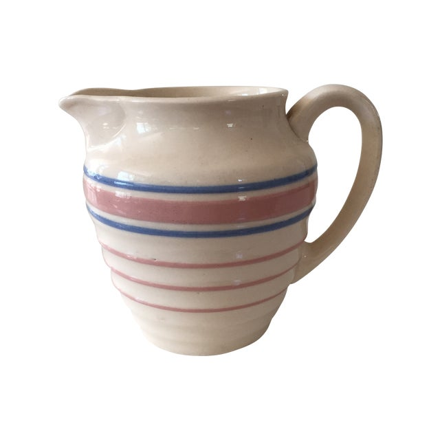 McCoy Blue and Pink Striped Pitcher - Image 1 of 3