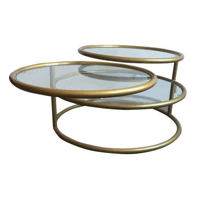 Milo baughman style swivel tiered coffee table chairish for Swivel coffee table
