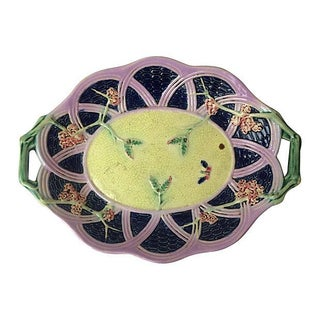 English Majolica Platter With Handles