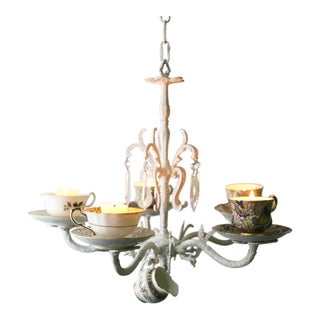 Wrought Iron Teacup Candle Chandelier