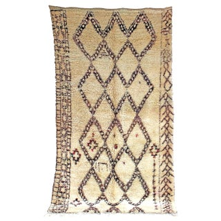 "Vintage Beni Ourain Moroccan Berber Rug, 6'4"" x 11'9"" feet"