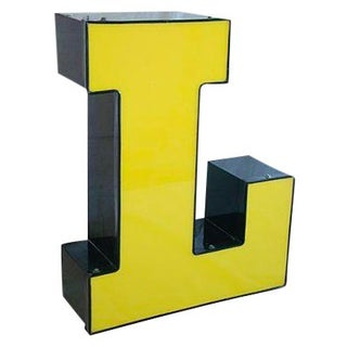 Large Vintage Yellow & Black Marquee Letter L