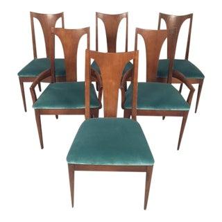Vintage Lenoir Company Mid-Century Teal Velvet Dining Chairs - Set of 6