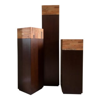 Set of 3 Accenting Pedestals With Reclaimed Peroba Wood