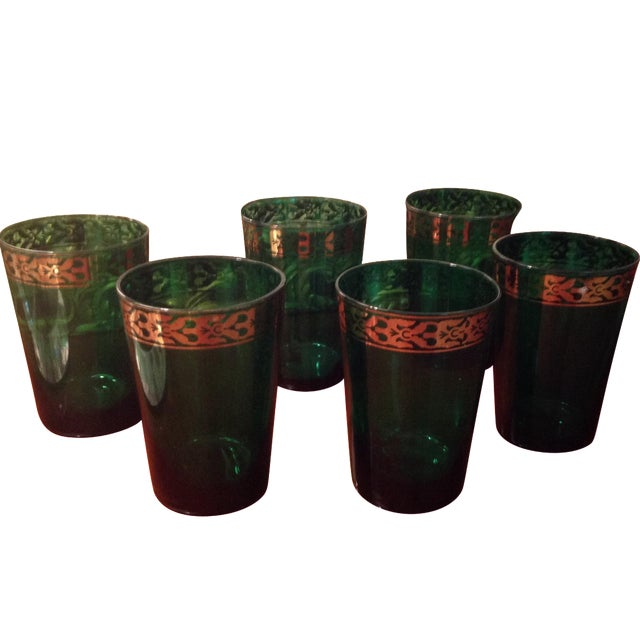 Vintage Green Glasses - Set of 6 - Image 1 of 4