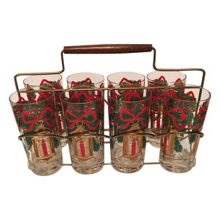 MCM Holiday Gold Highball Glasses & Caddy - 8