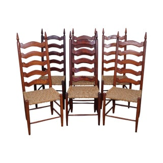 Old Hickory Style Ladder Back Dining Chairs - Set of 6