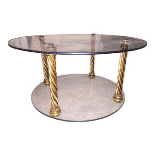 Gold Leaf & Glass 4 Pillar Side Table