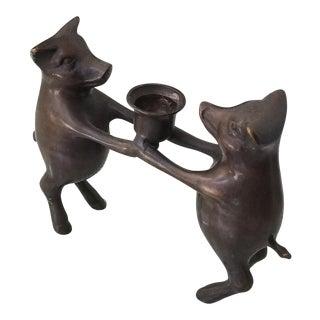 Bronze Piglets Candle Holder