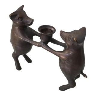 Bronze Piglets Candle Holder