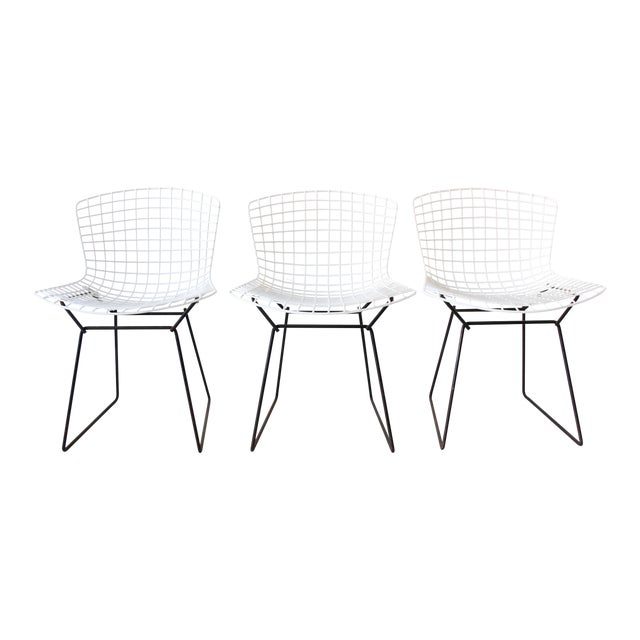 Image of Vintage Bertoia White Chairs for Knoll - Set of 3