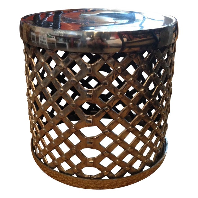 Woven Chrome Garden Stool - Image 1 of 3