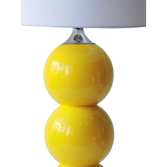 Image of Vintage Yellow Ceramic and Chrome Lamp