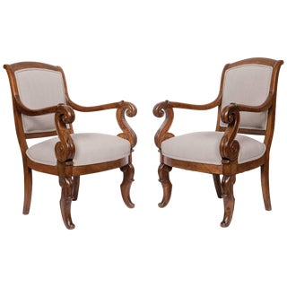 Solid Walnut Pair French Restauration Armchairs