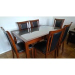 Image of Walnut Finish Dining Table Set