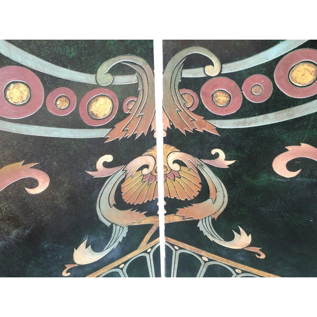 Image of Vintage Art Deco Hand Painted Screen