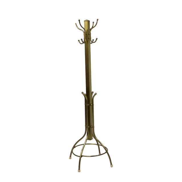 Image of Mid-Century Coat and Hat Stand in Brass
