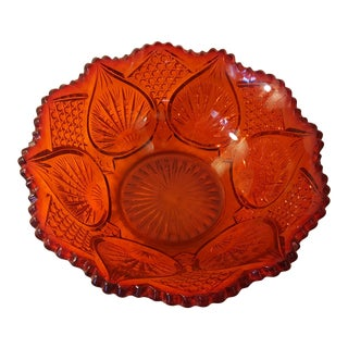 Tomato Red Cut Glass Bowl