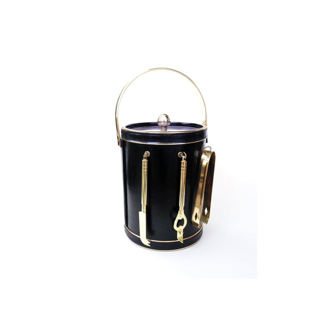 Image of Mid Century Ice Bucket With Brass Bar Tools