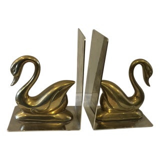 Brass and Chrome Swan Bookends - A Pair
