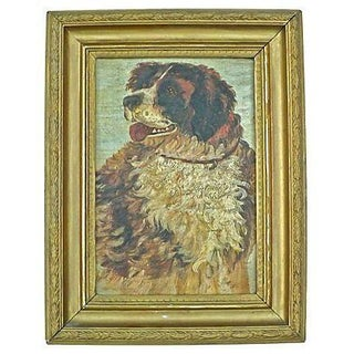Antique St. Bernard Oil Painting