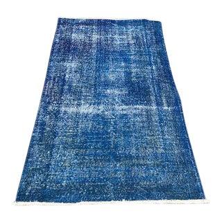 Antique Navy Blue Wool Turkish Carpet - 3′8″ × 6′9″