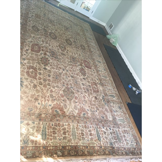 """Handknotted Rust & Teal Wool Area Rug- 10' x 17'8"""" - Image 4 of 8"""