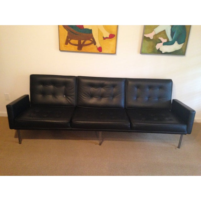 Image of Florence Knoll Black Leather Parallel Sofa