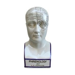 Vintage Phrenology Ceramic Bust, L.N. Fowler