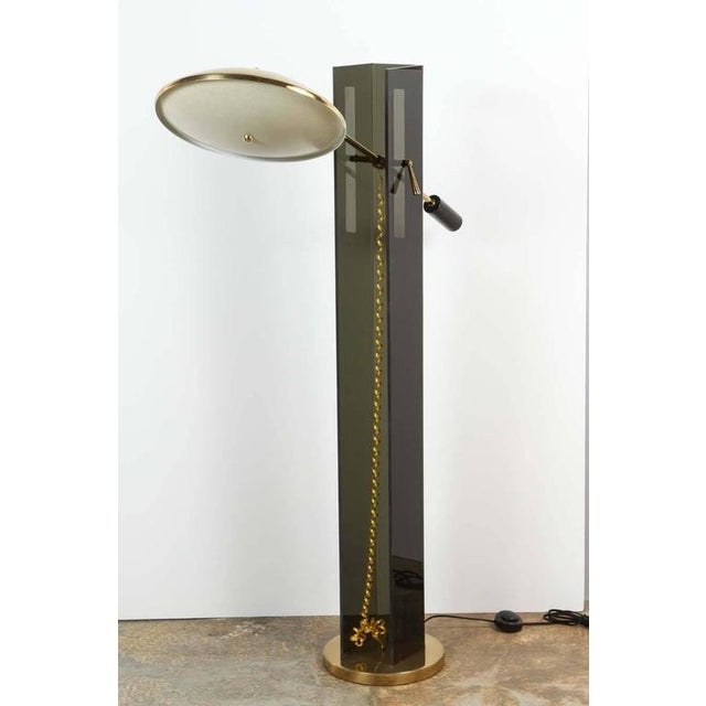 Image of Smoke Acrylic and Brass Mid-Century Floor Lamp