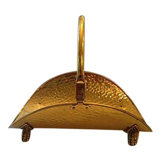 English Brass Hammered Firewood Holder