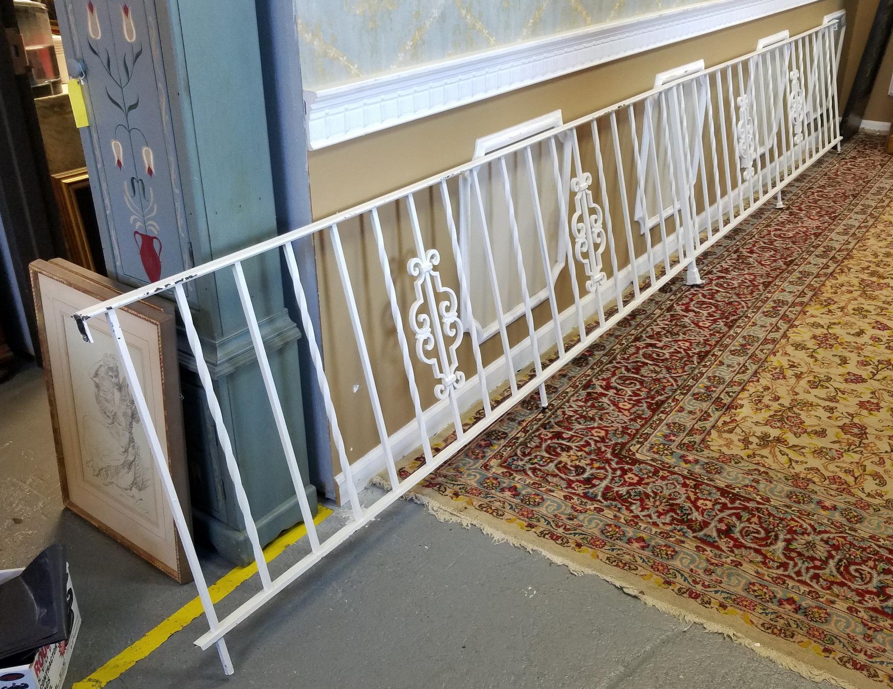 1950s vintage white wrought iron handrail railing gate image 2 of 9