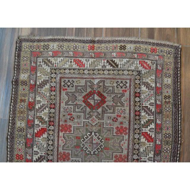 Distressed Vintage Star Kazak Rug - 3′9″ × 5′ - Image 6 of 9