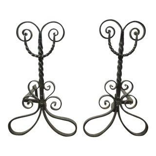 Pair of Antique Wrought Iron Arts & Crafts Art Nouveau Scrolling Andirons Black