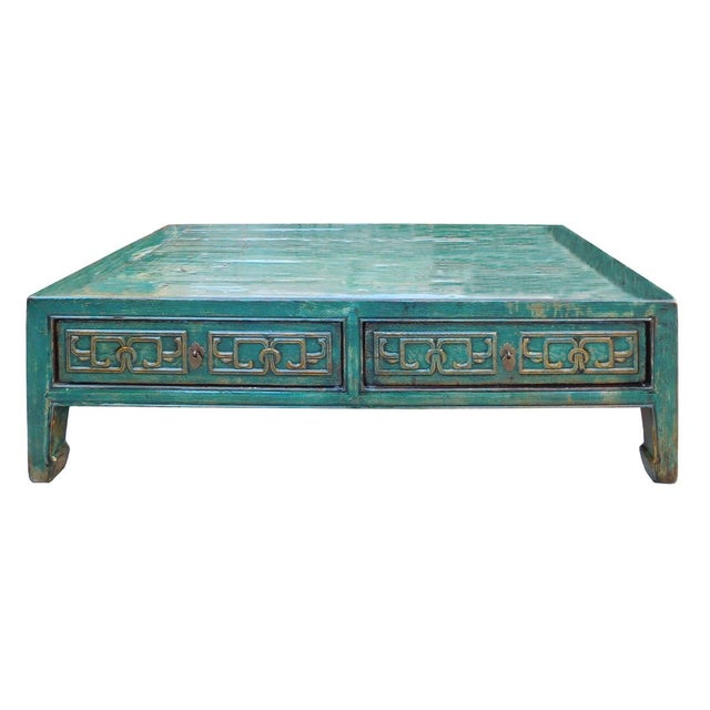 Distressed Blue Coffee Table: Chinese Coffee Table In Distressed Blue Lacquer