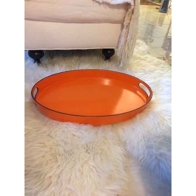 Orange Lacquer Oval Hermès Inspired Serving Tray - Image 3 of 11
