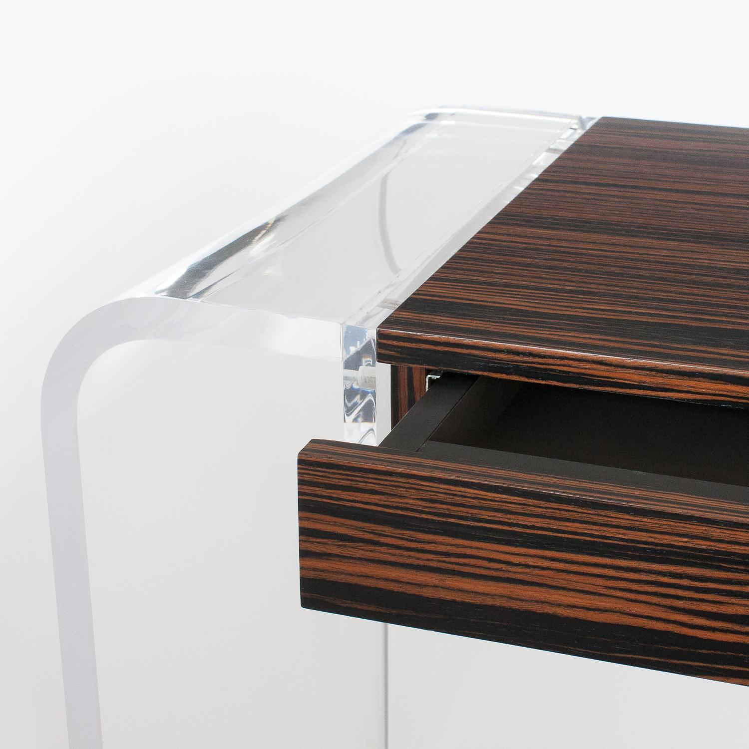 Macassar Ebony Amp Lucite Waterfall Writing Desk Or Console